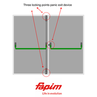 3 PT DOUBLE DOOR PANIC BOLT SET T/S ALUMINIUM