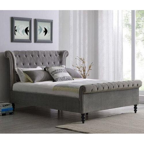 Ariel Velvet Bedframe in room setting