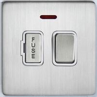 DETA Screwless Fused Spur switch with Neon Satin Chrome White Insert | LV0201.0074
