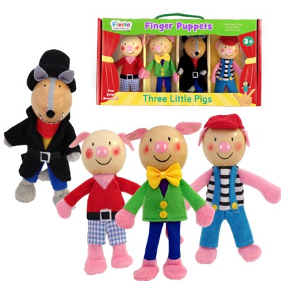Three Little Pigs Finger Puppet Set - Three Little Pigs and a Big Bad Wolf