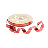 15MM RED CURLING W/MERRY XMAS IN GOLD 100YDS