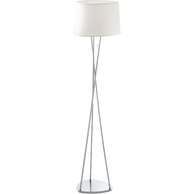 Belora Floor Lamp Brushed Chrome Base + Cream Shade | LV1902.0011