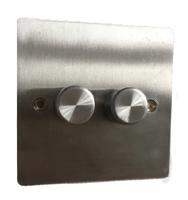 DETA Flate Plate 2gang Dimmer Satin Chrome   LV0201.0187