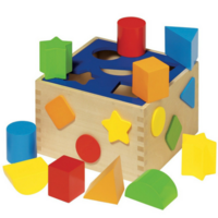 Wooden shape sorting game for toddlers