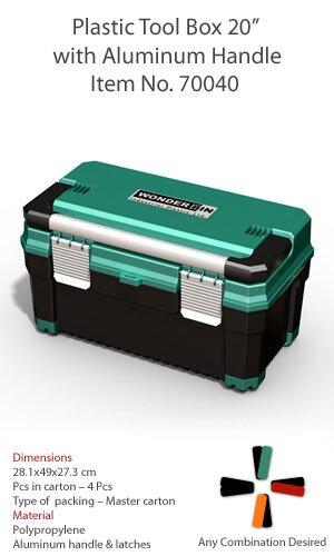 WONDERBIN 20'' GREEN/BLK PLASTIC TOOLBOX C/W ALUMINIUM HANDLE & FASTENERS