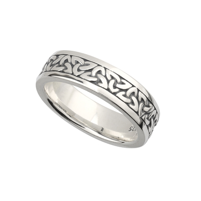 LADIES SILVER OXIDISED TRINITY RING