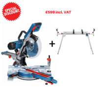 Bosch GCM 350 110v 1450w 10'' 250mm Double Bevel Sliding Compound Mitre Saw with Stand 3700-5000rpm Cutting Capacity 320x89mm 24.2kg
