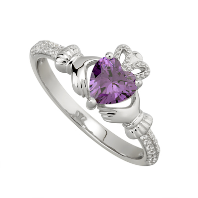 AMETHYST CLADDAGH RING (FEBRUARY BIRTHSTONE)
