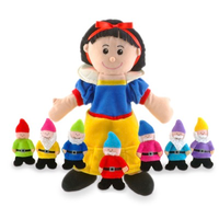 Snow White hand puppet with seven dwarf finger puppets