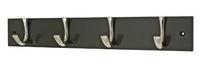 Coat Rack 4 Hook Chrome & Black