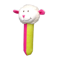 Pink and green sheep Squeakaboo toy for babies