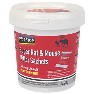 Pest-Stop Super Rat & Mouse Killer Wholegrain Bait 25g Sachet 6Pk x 1