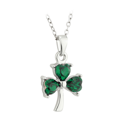 SILVER PLATED CRYSTAL SHAMROCK PENDANT