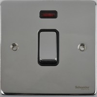 Schneider Ultimate Low Profile 20Amp Double Pole switch with neon Polished Chrome with Black Insert | LV0701.0070