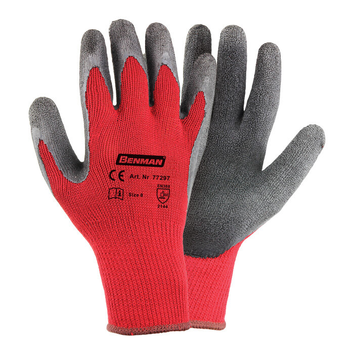 Gloves - Red Polyester Black Latex Palm 9''/L