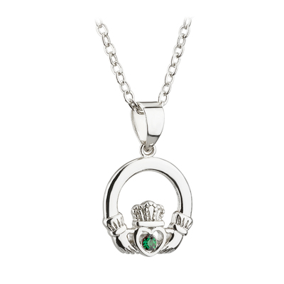 RHODIUM PLATED  CRYSTAL CLADDAGH PENDANT