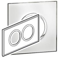 Arteor (British Standard) Plate 2x2m 2 Gang Round Mirror White| LV0501.0175