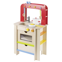 Wooden children's play kitchen with accessories