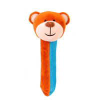 Blue and brown teddy bear Squeakaboo toy for babies
