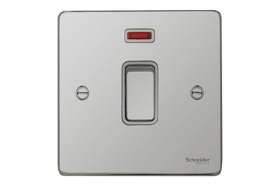 Schneider Ultimate Low Profile 20Amp Double pole switch with neon Polished Chrome with White Insert   LV0701.0051