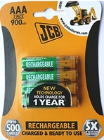 JCB Rechargeable Batteries Size AAA 4 Park