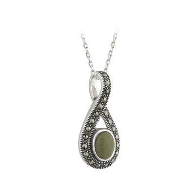sterling silver connemara marble and marcasite pendant s45283 from Solvar