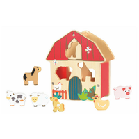 Wooden farm animal sorting game for toddlers