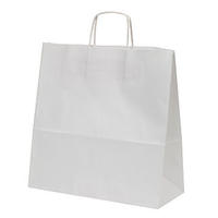 Twist Handle Ribbed Carrier Bag White 450mm x 170mm x 480mm