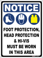 NOTICE Foot, Head & Hi Vis Must Be Worn - 3 Icons