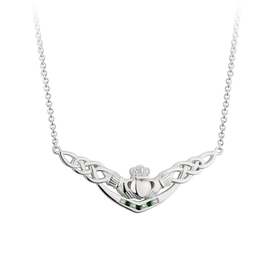 GREEN CRYSTAL & CUBIC ZIRCONIA CLADDAGH NECKLET(BOXED)