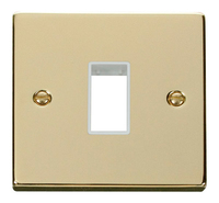 Click Deco Victorian Polished Brass with White 1 Gang Plate Single Aperture | LV0101.1819