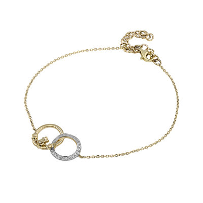 14K GOLD DIAMOND CLADDAGH CIRCLE BRACELET