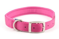 "Ancol Padded Nylon Buckle Collar - Raspberry Pink 24"" x 1"