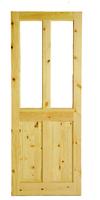 """4 Panel Glazed Pine Door 6 Foot 6 """"X 2 Foot 4"""" Square Top"""