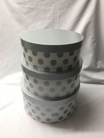 HAT BOX WHITE SILVER DOT SET OF 3 BOXES **AVAILABLE OCTOBER**