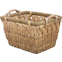 Oblong Willow Basket with wood handle 55x45cm