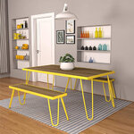 Paulette Outdoor Table and Bench Set (Yellow) 4
