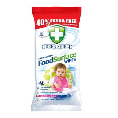 Green Shield Anti-Bacterial Food Surface Wipes, 70 Extra Large Sheets