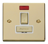 Click Deco Victorian Polished Brass with White Insert Switched Fused Spur with Neon | LV0101.0159
