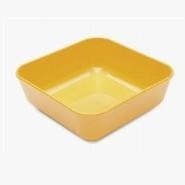 Square Sweet Dish Yellow Polycarbonate 10cm