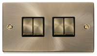 Click Deco Victorian Antique Brass with Black Insert 4 Gang 2 Way 'Ingot' Switch | LV0101.0008
