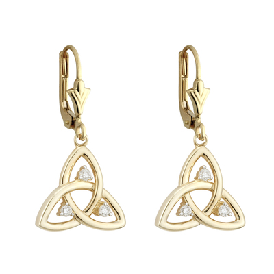 10K CZ TRINITY DROP EARRINGS(BOXED)