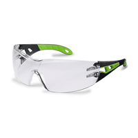 Uvex Pheos Safety Spectacles, Black/Lime Green