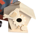 close-up image of wooden birdhouse to paint