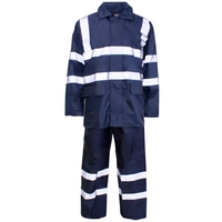 Supertouch Polyester/PVC Hi-Visibility Rainwear Rainsuit, Navy