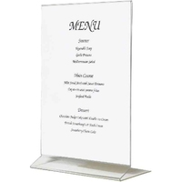 Menu Holder Vertical A5 Clear Acrylic 260mm High x150mm Wide