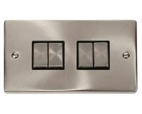 Click Litehouse DECO 4G 2Way Ingot Switch Black Insert Satin Chrome