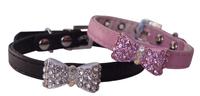 Pet London Dog Collar - Crystal Bow Black X-Small 25cm x 1