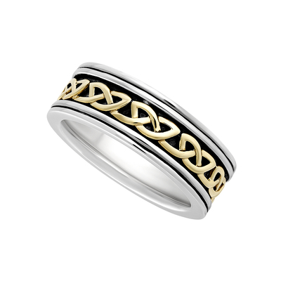 GENTS SILVER & 10K GOLD OXIDISED CELTIC KNOT RING(BOXED)