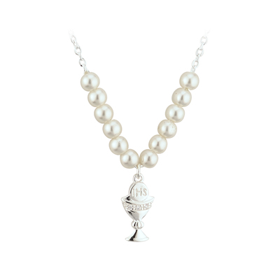 RHODIUM & GLASS PEARL COMMUNION CHALICE NECKLET